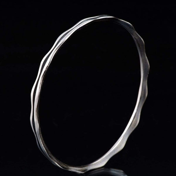 Wave Sterling Silver Bracelet Bangle, Ready to Ship