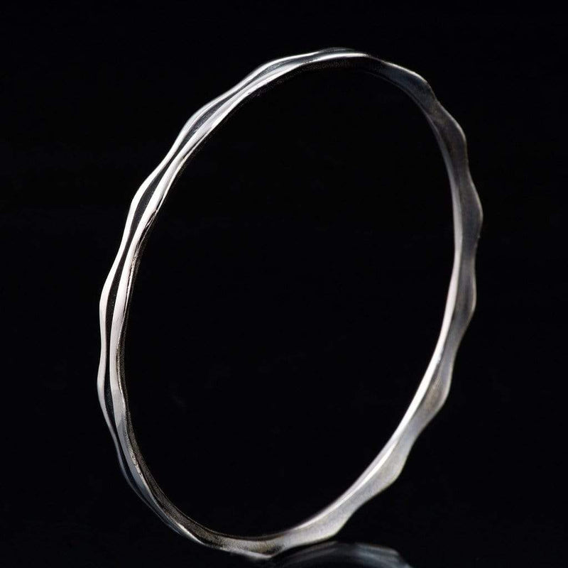 Wave Sterling Silver, Palladium or Gold Bracelet Bangle - by Nodeform