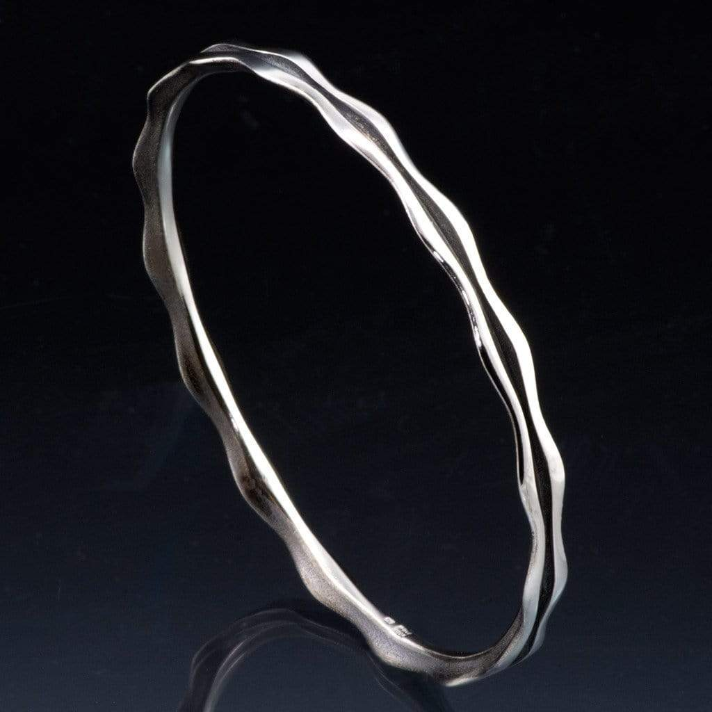 Wave Sterling Silver or Gold Bracelet Bangle