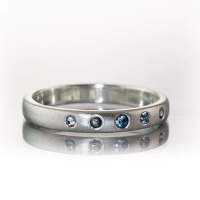 Domed Sterling Silver Wedding Band with Graduated Flush set Montana Sapphire, Ready to Ship