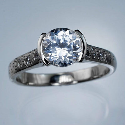 White Lab Sapphire Half Bezel Star Dust Engagement Ring