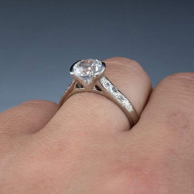 White Lab Sapphire Half Bezel Star Dust Engagement Ring - by Nodeform