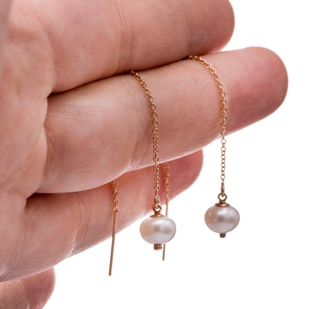 White Pearl Long Threader Earrings in 14kGF Rose Gold Filled, Ready to Ship
