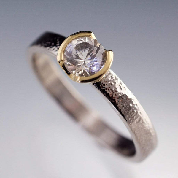 White Sapphire Gold Semi-Bezel Textured Engagement Ring - by Nodeform