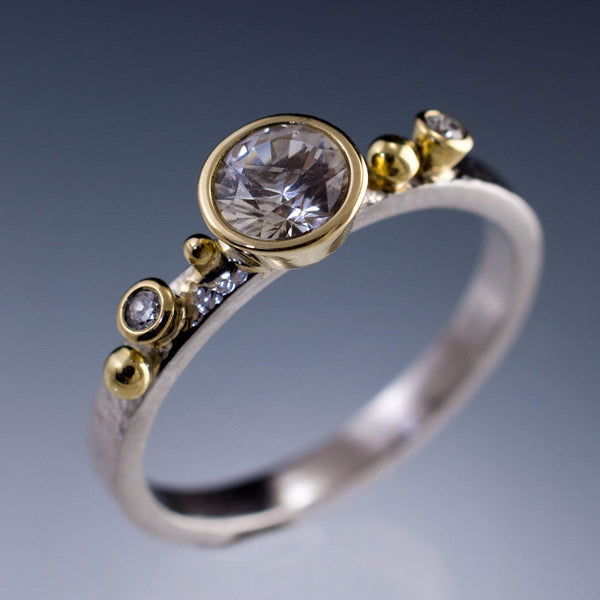 Engagement Ring White Sapphire & Diamonds in 18k Gold Accents
