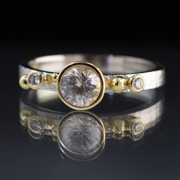 Engagement Ring White Sapphire & Diamonds in 18k Gold Accents - by Nodeform