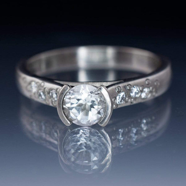 White Sapphire Half Bezel Diamond Star Dust Engagement Ring - by Nodeform