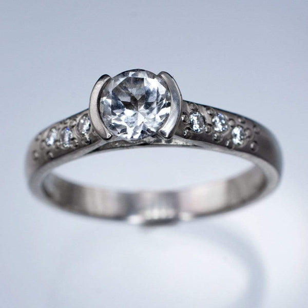 White Sapphire Half Bezel Diamond Star Dust Engagement Ring