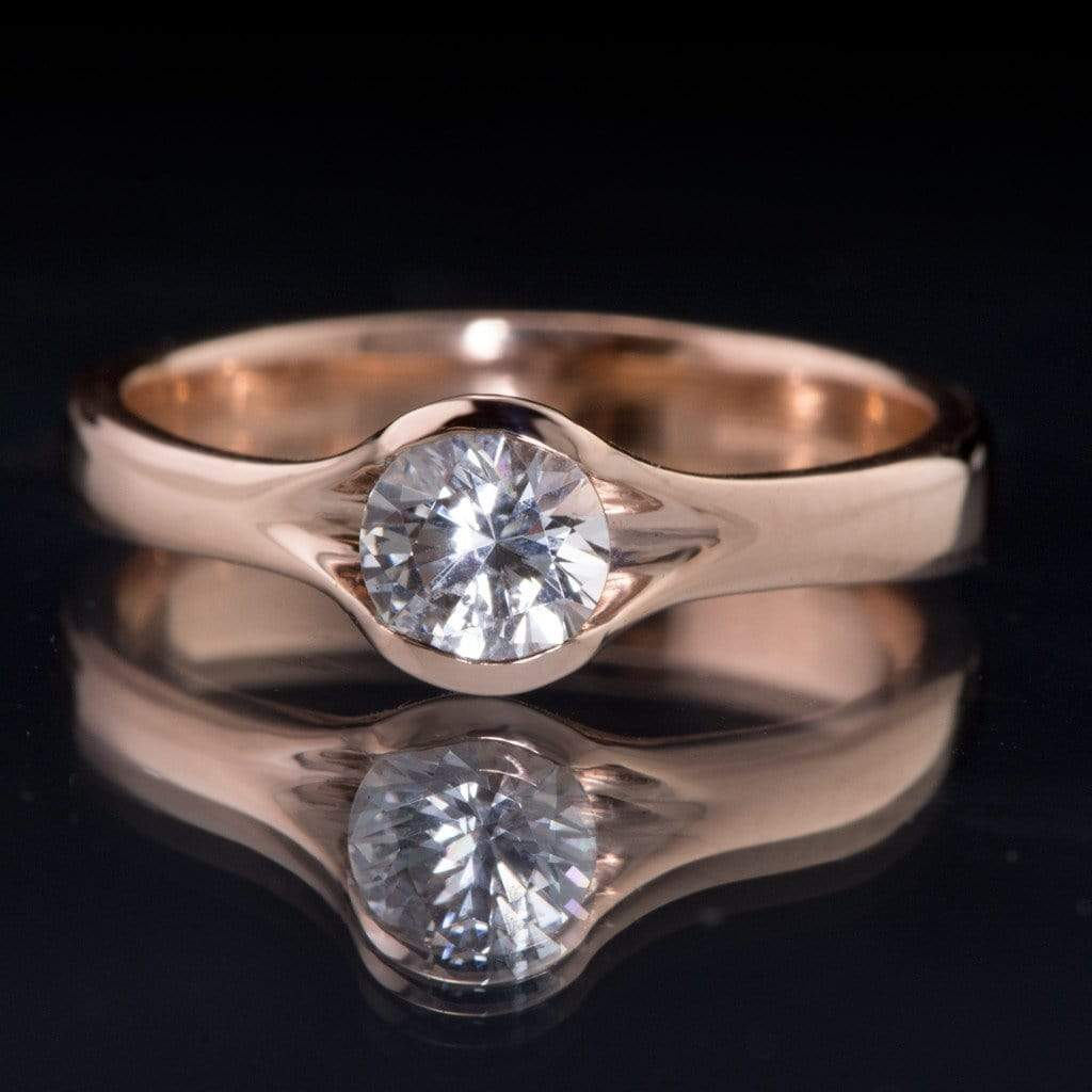 White Sapphire Fold Gold Solitaire Engagement Ring