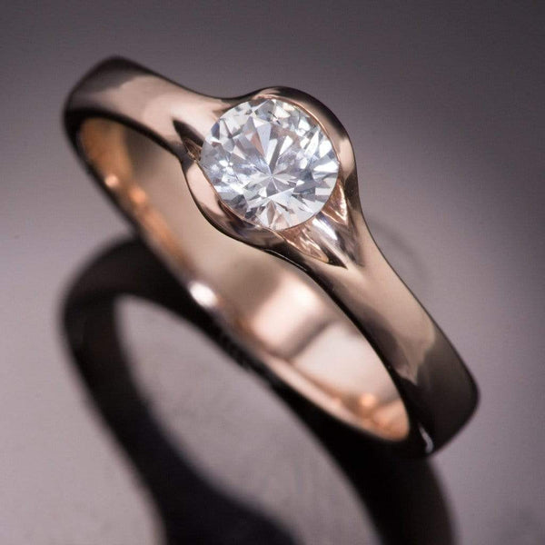 Round White Sapphire Fold Solitaire Engagement Ring - by Nodeform