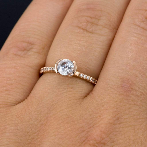 White Sapphire Half Bezel Narrow Diamond Micro Pave Engagement Ring
