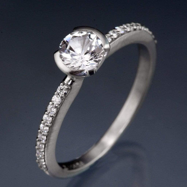 White Sapphire Half Bezel Diamond Micro Pave Engagement Ring - by Nodeform