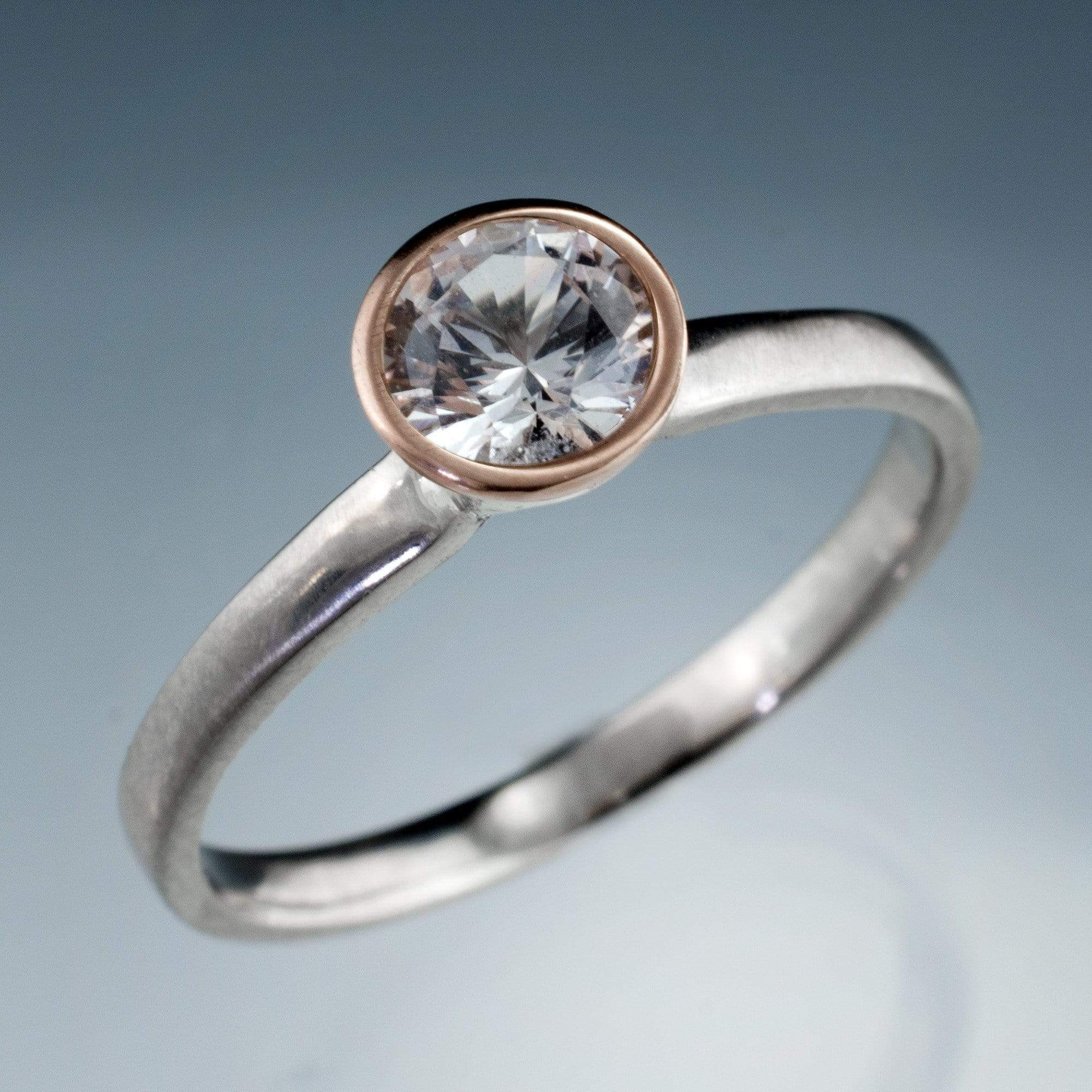 Mixed Metal White Sapphire Bezel Engagement Ring - by Nodeform