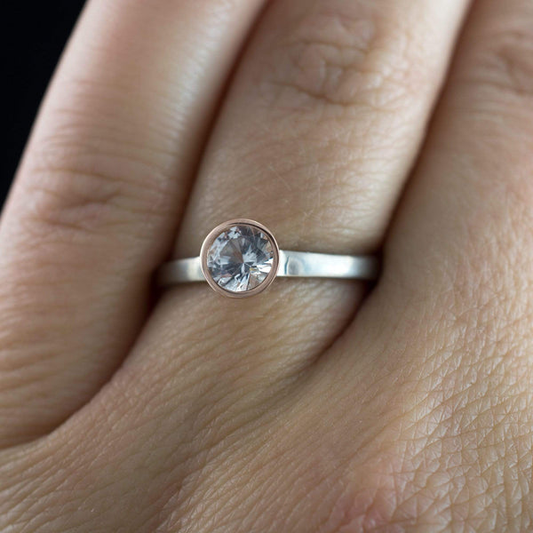 White Sapphire Bezel Set Mixed Metal Engagement Ring
