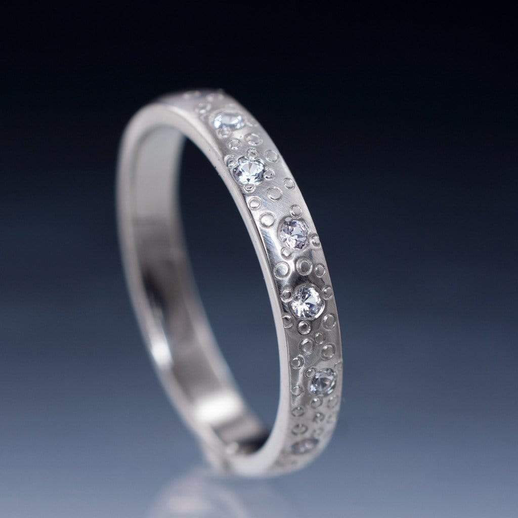 White Sapphire Star Dust Wedding Ring - by Nodeform