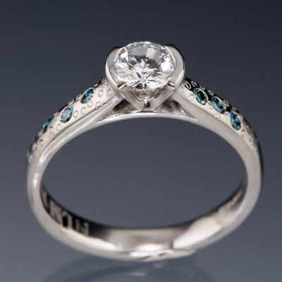 White Sapphire Half Bezel Teal Diamond Star Dust Engagement Ring - by Nodeform