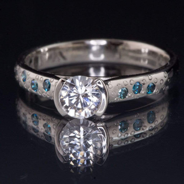 White Sapphire Half Bezel Teal Diamond Star Dust Engagement Ring
