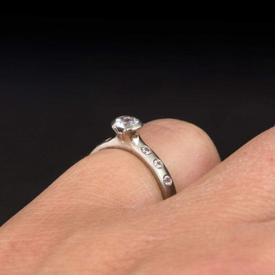 Tulip Half Bezel White Sapphire 18kPDW White Gold Engagement Ring, ready to ship size 4 to 7