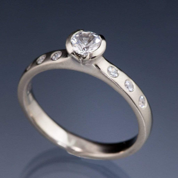 Tulip White Sapphire Semi-Bezel Engagement Ring with White Sapphire Accents