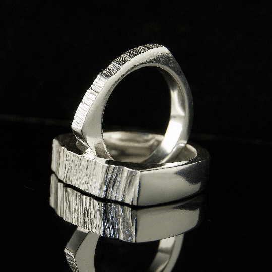Wide Top Saw Cut Texture Wedding Band - by Nodeform