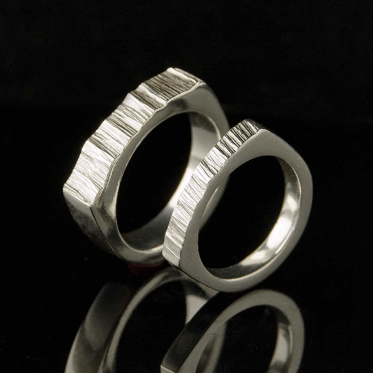 Wide Top Saw Cut Texture Wedding Band