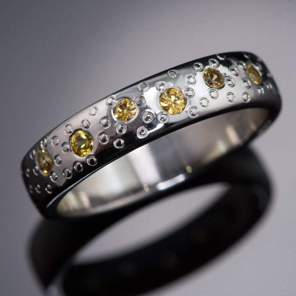 Yellow Sapphire Star Dust Wedding Ring