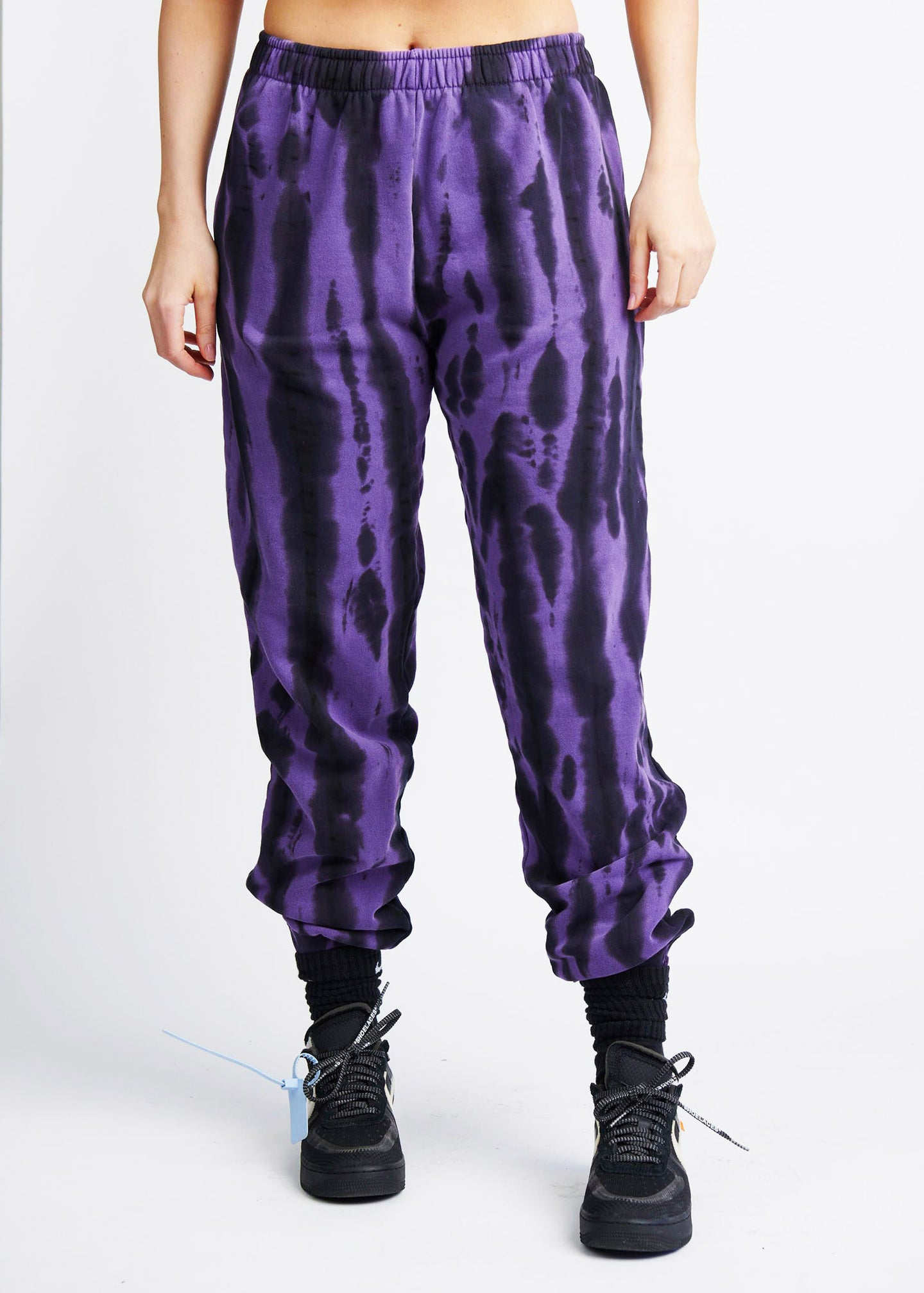 The Tie-Dye Zipper Track Pant - Violet