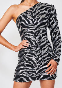 Zebra Sequin One-Shoulder Dress