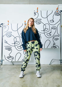 The Tie-Dye Zipper Track Pant - Kiwi