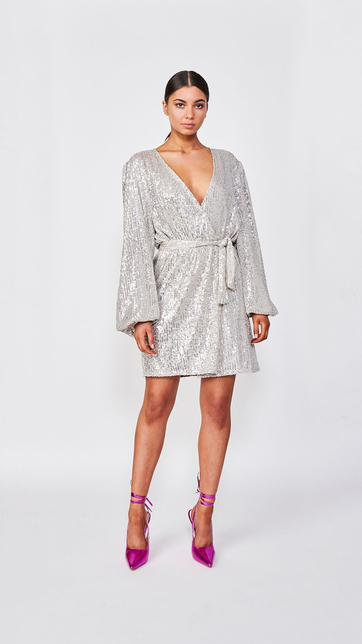 Silver Sequin Robe Mini