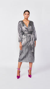 The Micro-Pleated Kimono Dress
