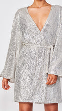 Load image into Gallery viewer, Silver Sequin Robe Mini