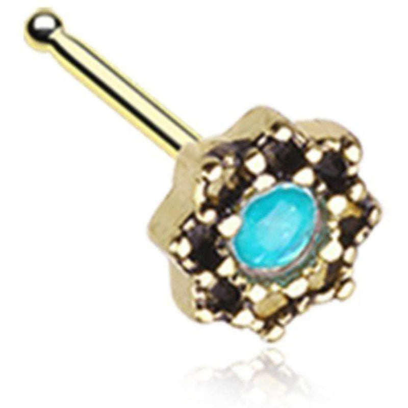Sold Individually 20 GA Golden Plated Star Icon Sparkle Nose Stud Ring