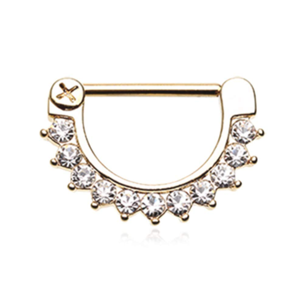 Gold Plated, Sold by Pair 14 GA Golden Chandelier Gems Nipple Barbell Ring 316 L Stainless Surgical Steel Body Ring For Women and Men Davana Enterprises