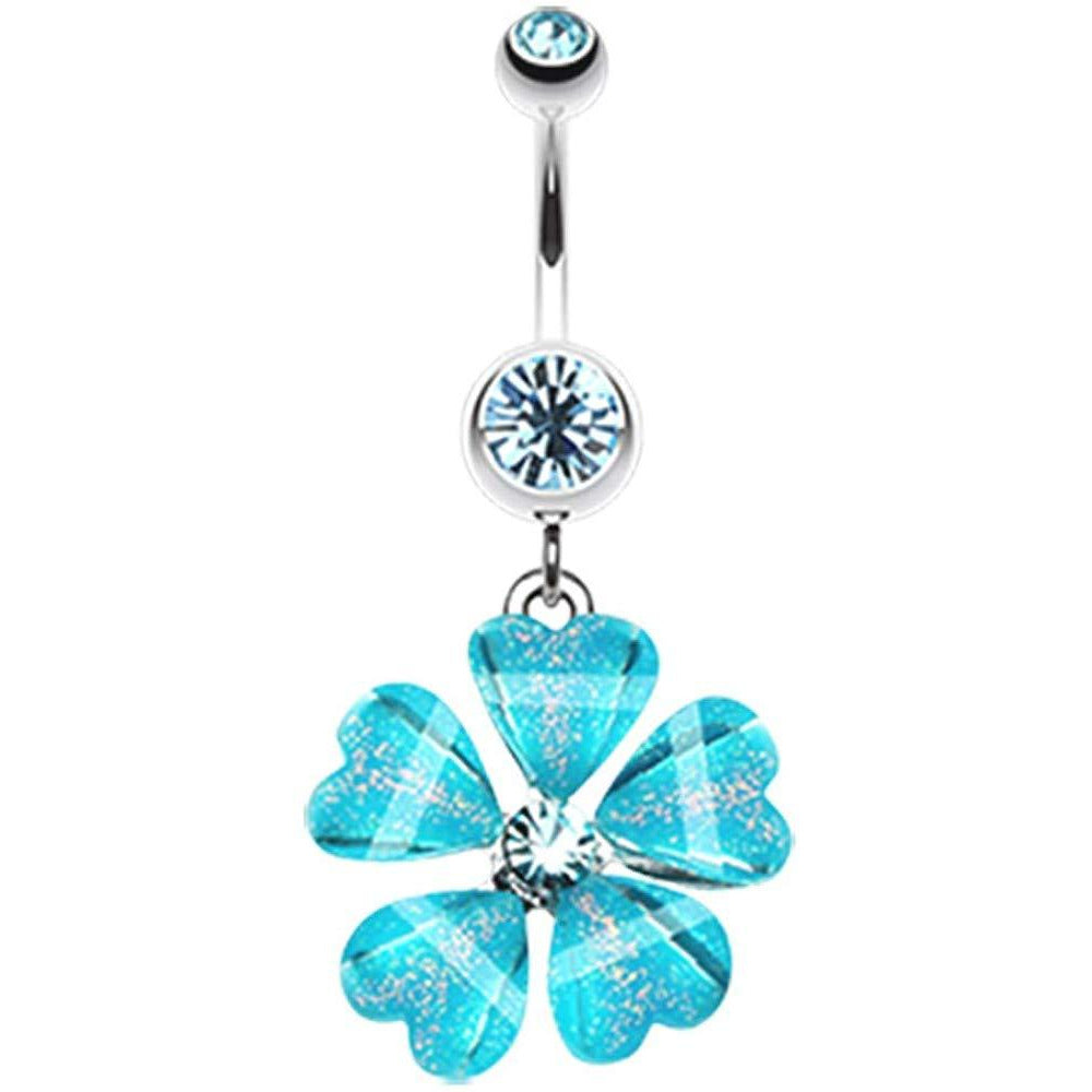 - Sold Individually 1.6mm Shimmering Flower Cascade Belly Button Ring 14 GA