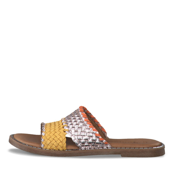 Tamaris, Slippers i skind - Metallic/Gul