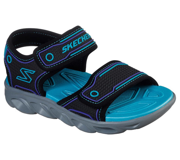 Skechers, sandal m/lys - Sort/turkis
