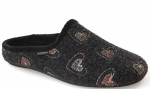 Home Slippers - Dark Grey-Hearts