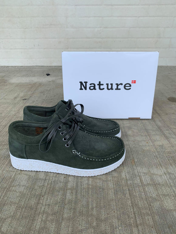 Nature Footwear, Anna med gummisål - Bottle Green