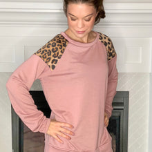 Load image into Gallery viewer, pink and leopard print contrast long sleeve top