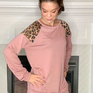 pink and leopard print contrast long sleeve top