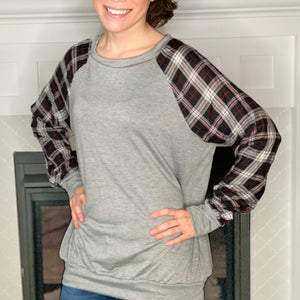 plaid long sleeve gray contrast top