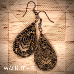 "1.5"" TEARDROP MANDALA WOOD EARRINGS"