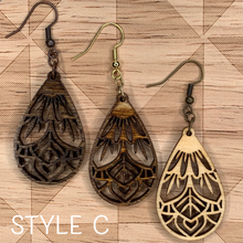 "Load image into Gallery viewer, 1.5"" TEARDROP MANDALA WOOD EARRINGS"