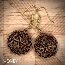 "Load image into Gallery viewer, 1"" ROUND MANDALA WOOD EARRINGS"