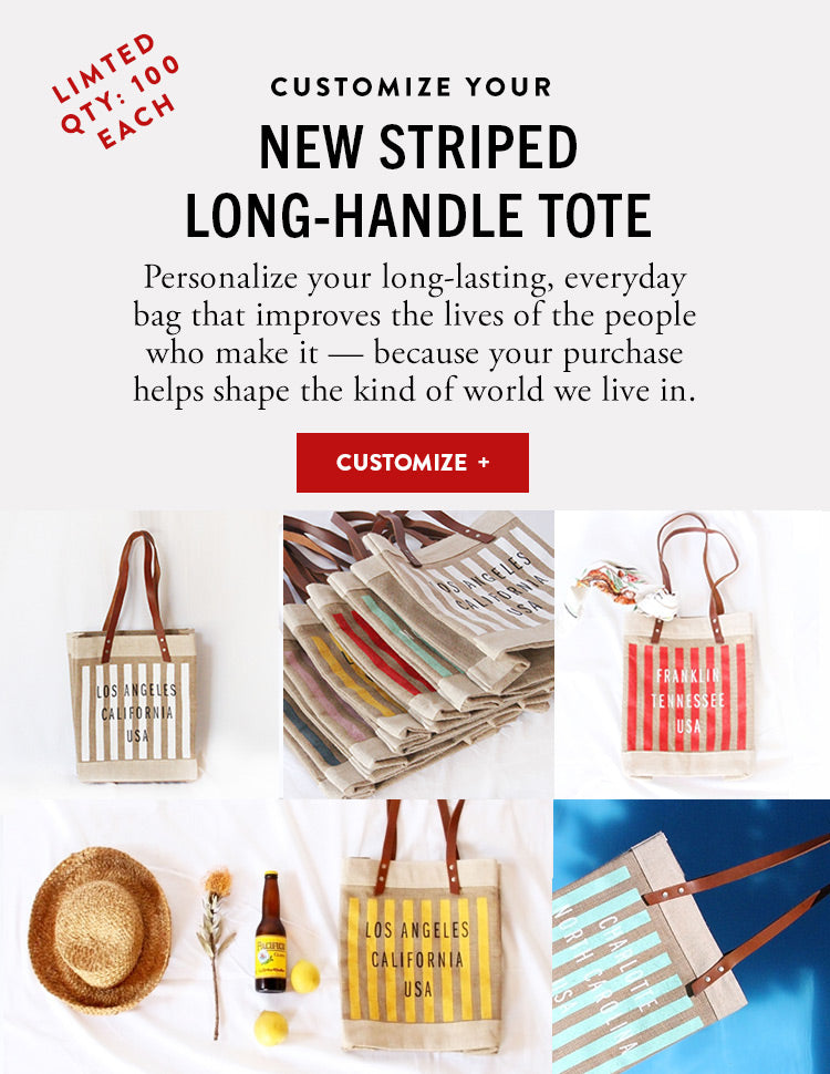 Striped Long Handle Tote