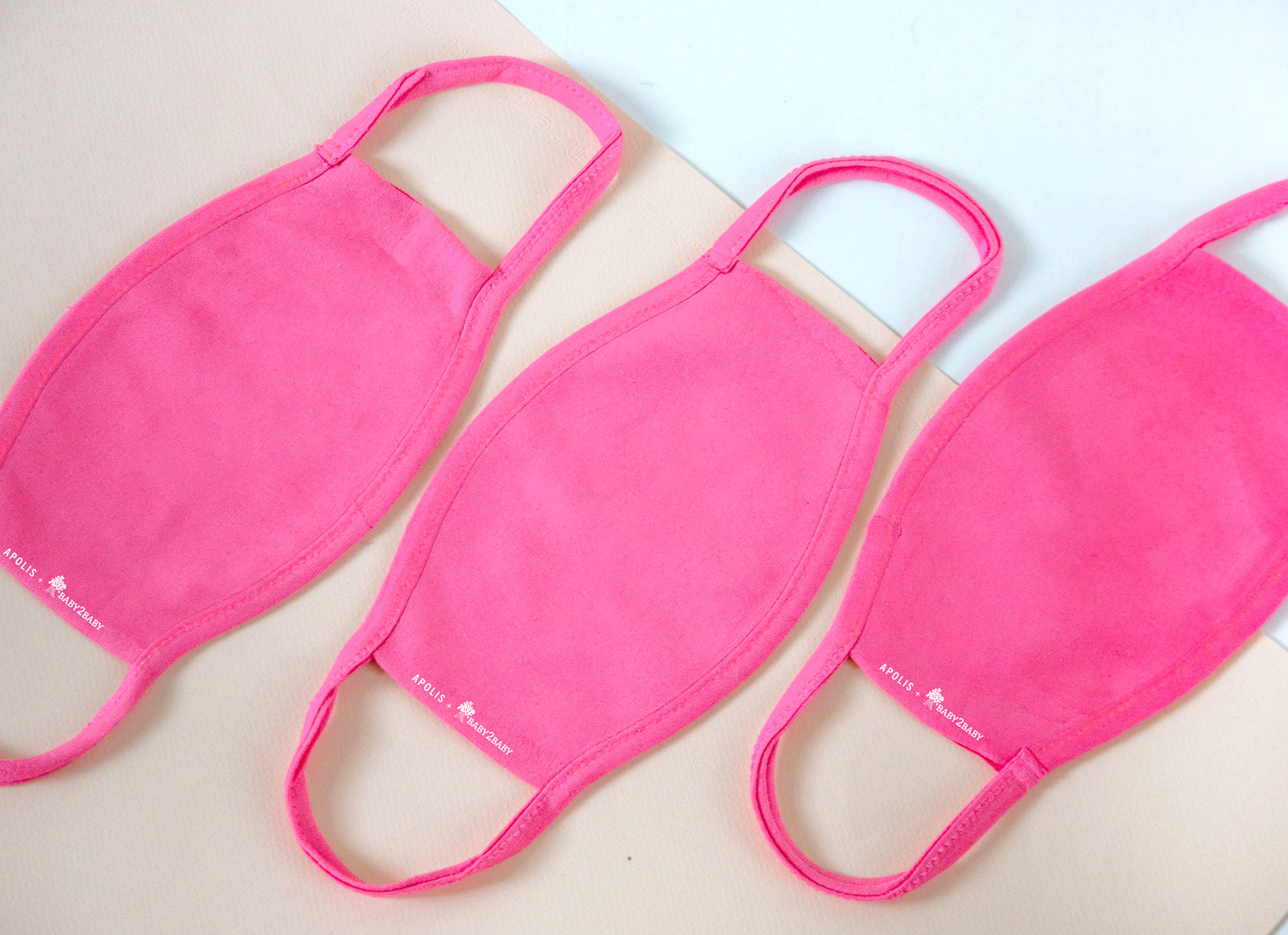 3-Pack Apolis Blank Non-Medical Face Mask for Baby2Baby® in Pink