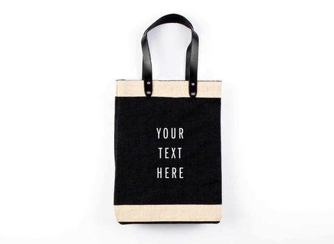 Customize Your Tote Market Bag in Black, White Print