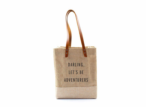'Darling, Let's Be Adventurers' Wine Tote, August 4 Only, Natural