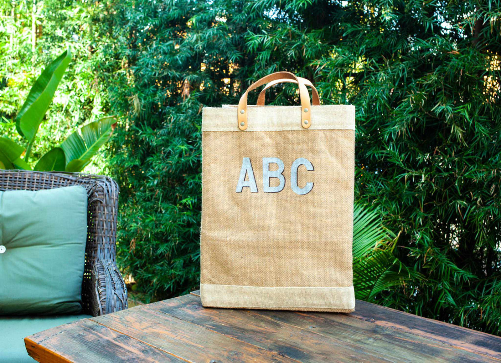 Customize Your Hand-Painted Monogram Market Bag